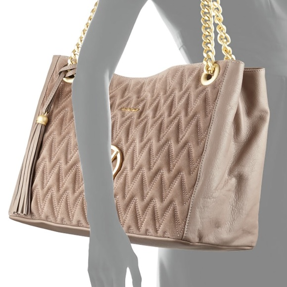 1e73d01e6b0a5 Valentino Quilted Leather Tote Bag Beige NWT